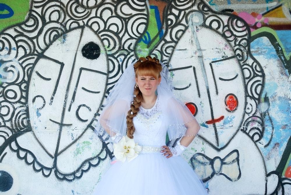 Фотосессия невесты возле модного граффити - Женя Лайт - Фотограф Киев